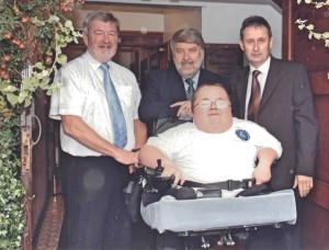 Alun Evans, Roy Noble and Wynne Evans (Cymru Healthcare) with Richard Jones at the Launch of Accessible Wales