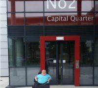 Richard Jones outside Capital Quarter 2, Public Health Wales Office