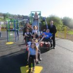 Mia and friends on the slide with Vikki Howells, Cllr Barrie Morgan, Cllr Ann Crimmings and myself (Richard Jones)