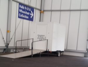 Accessible WC in the car park of the Birmingham NEC